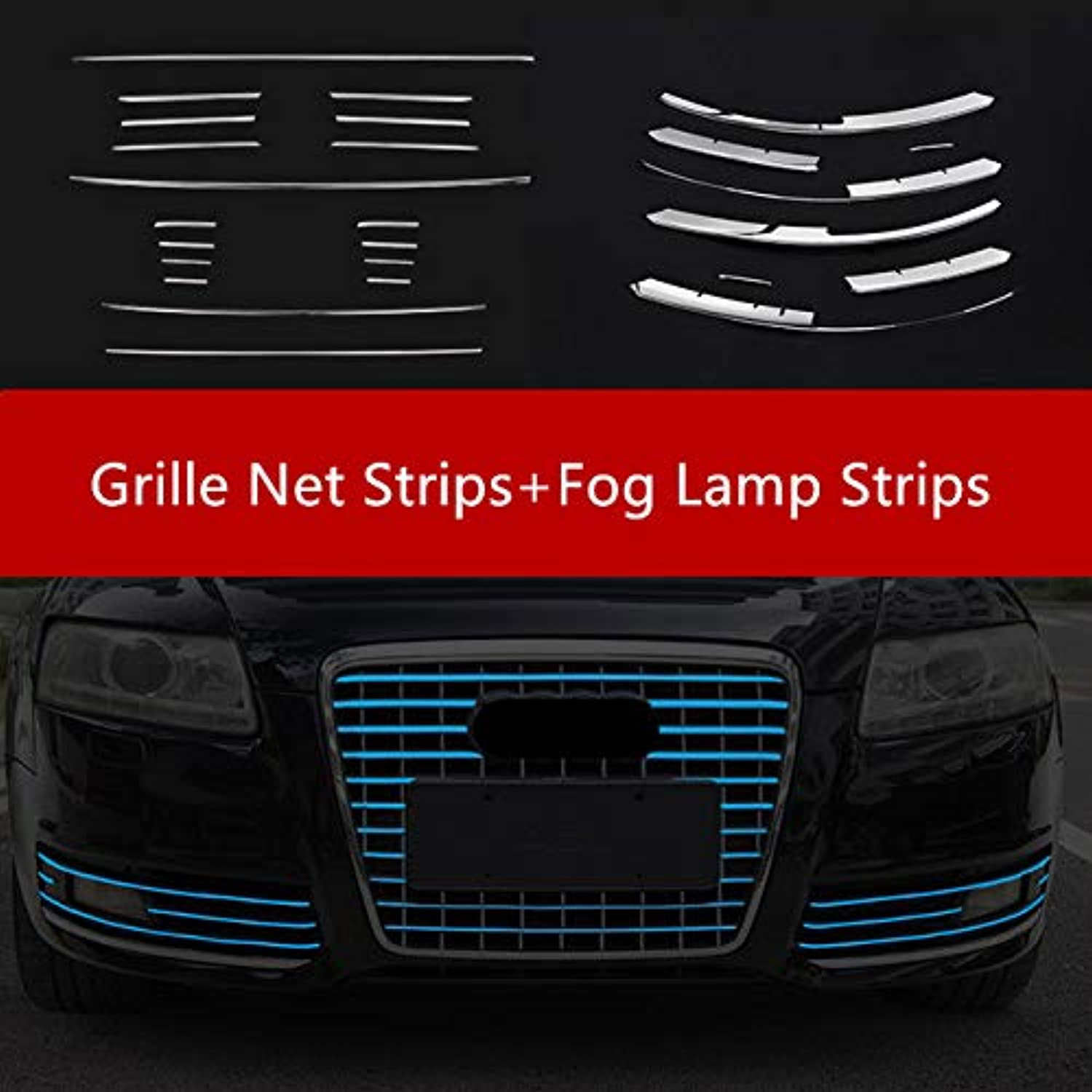 Stainless Steel Front Air Grille Decoration Fog Lights Grill Cover Trim for Audi A6 C6 20092011 Front Fog Lamp Strips  (color Name  26 Pieces)