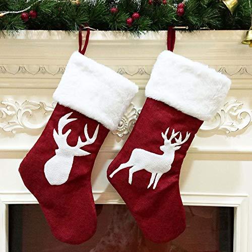 COOGG Kerst kousen Rendier jute pluche kousen opknoping sokken voor thuis vakantie open haard kerstversieringen benodigdheden