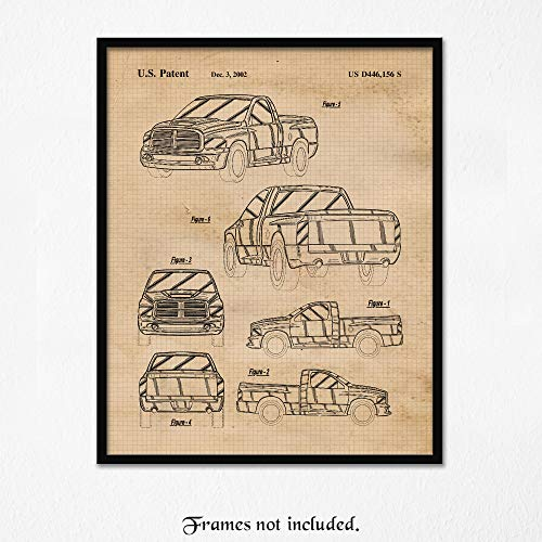 Vintage Dodge RAM SRT 10 Patent Poster Prints, Set of 1 (11x14) Unframed Photo, Wall Art Decor Gifts Under 15 for Home, Office, Man Cave, College Student, Teacher, American Cars & Coffee Fan