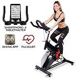 Miweba Sports Profi Indoor Cycling Bike MS500 Ergometer Heimtrainer - 25 Kg Schwungmasse - Pulsgurt...