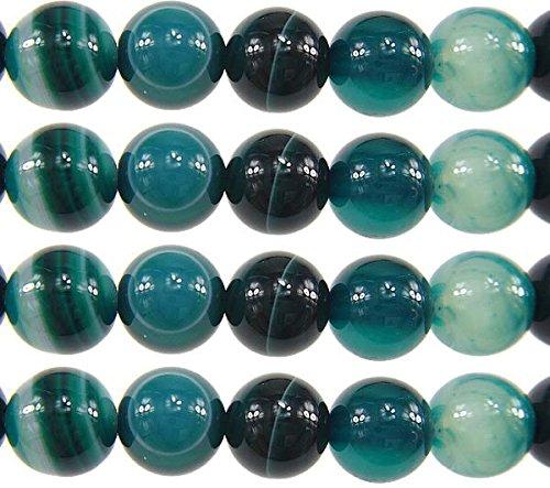 Strisce di pietre preziose, agata, 8 mm, 6 mm, colore: verde, forma sferica, per pizzi, gioielli, bracciali, bricolage e fai da te, pietra, verde bianco, 6mm 18 Stück