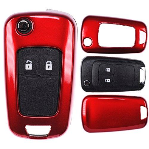 Klapp Schlüssel Cover Harthülle Metallic Rot kompatibel mit Opel Astra J Corsa D Meriva Insignia Zafira Adam