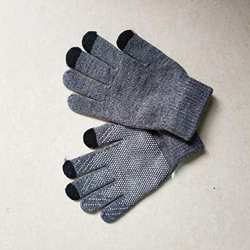 LOLIRYZ Knitted Gloves Autumn Winter Touch Screen Women Men Plush Thin Solid Warm Mittens Velvet Female Gloves - (Color: 2, Gloves Size: Free Size)