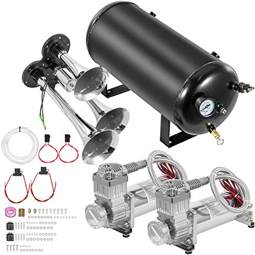 VEVOR Train Horn Kit 12 Volt Semi Horn Kit, 3 Trumpet Horn Blaster Air Kit, Super Loud 170 Decibels Train Horn Kits for Trucks,with 5 Gallon Tank & Dual 200 PSI Air Compressors Complete System