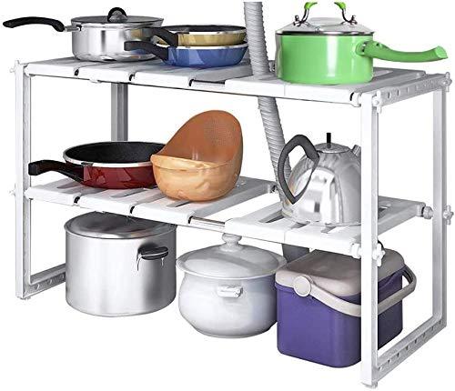goldmiky Unter Spüle Regal - Küchen Unterschrankregal,Ausziehbare Küchenschränke aus Edelstahl und PP-Kunststoff mit 10 abnehmbaren Paneelen,Ideal für Küche zu Hause Aufbewahrung