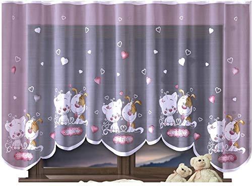 Home Dekorator Vorhang Gardine mit Kräuselband Kinderzimmer Kindergardine Junge Mädchen Weiß 300 cm Extra Breit Dschungel Motiv Scheibengardine Kurzgardine Transparent Kurz Durchsichtig Universalband