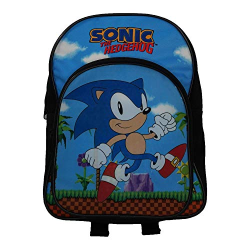 Sonic Rings Officially Licensed Backpack- Plain/Personalised School Present Fun Quality Product Stitching Padded Shoulder Straps Tension Resistant 100% Polyester (Plain)