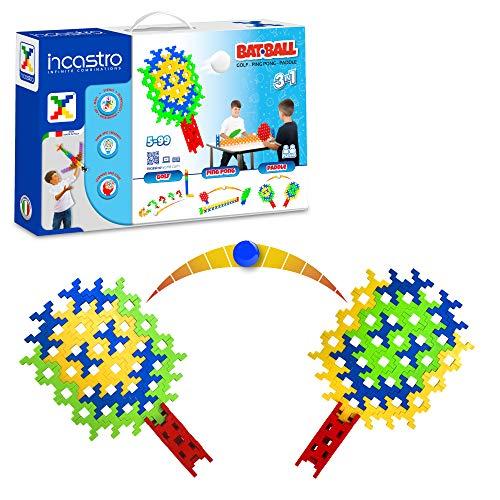 Incastro - Batball 3 en 1, Ping Pong, Golf, Paddle, construcción para niños, ladrillo único, Juegos interactivos, puzle 3D, Multicolor, niños 5, 6, 7, 8, 9, 10 y 11 años.