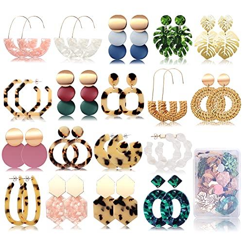 FIFATA 18 Pairs Statement Rattan Earrings for Women Girls Fun Acrylic Hoop Drop Dangle Earrings Fashion Resin Jewelry Set Hypoallergenic for Sensitive Ears