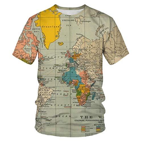 Mapa del Mundo 3D Impreso Tops Cuello Redondo Casual Manga Corta para Hombres Mujeres Verano Camisetas Personalizadas,3XL