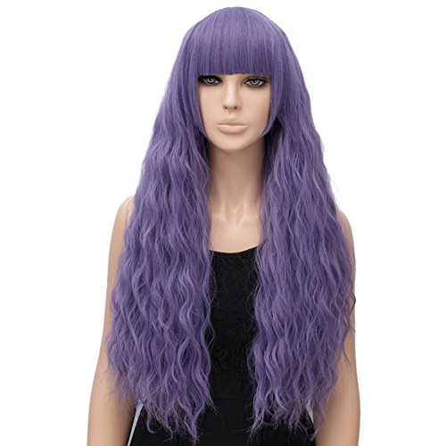 Netgo Women's Lavender Purple Wig Long Fluffy Curly Wavy Hair Wigs for Girl Synthetic Party Wigs