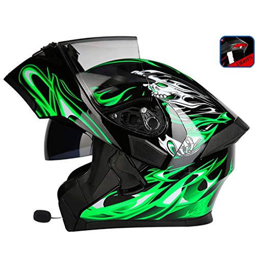 OUTO Découverte de Casque Moto LED feu arrière Avertissement Rouge Casque Bluetooth HD Anti-buée Miroir Casque intégral Cool personnalité (Couleur : Black Green Devil, Taille : XL)