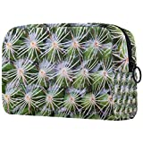 Bolsa cosmética de viaje de doble capa, bolsa de almacenamiento grande del caso cosmético, primer plano del papel pintado de la planta del cactus