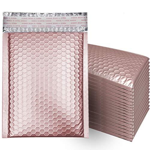 4x8 Inch Matte Glamour Metallic Bubble Mailers, Self-seal Closure Envelopes Shipping Bags- 25pcs (Rose Gold)