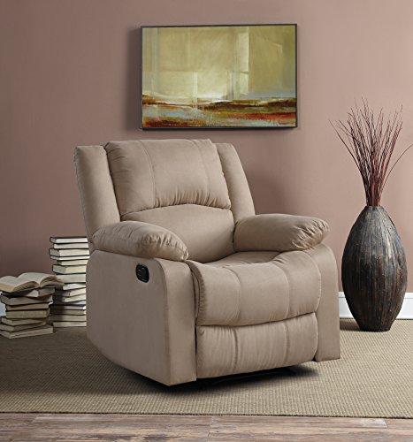 Relax A Lounger Upholster Logan Multi-Function Microfiber Recliner Chair, Width 35.5' x Depth 37.8' x Height 39.37', Beige