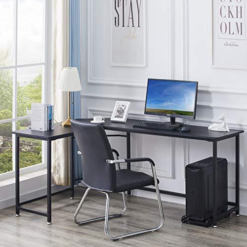 HJhomeheart Computertisch L-Form, Schreibtisch Gaming-Computer-Eckschreibtisch PC-Tisch Table, Großer Computerschreibtisch Bürotisch Ecktisch, Schwarz
