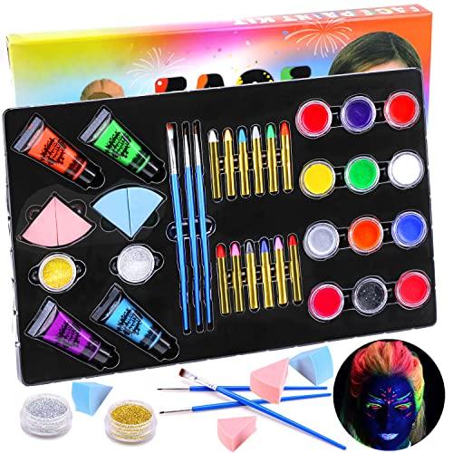 HOWAF Pinturas Cara para Niños, Seguridad no tóxica Pintura Facial Maquillaje niños, 24 Colores Crayons de Pintura y UV Luz Body Paint y Plantillas Pinceles para Halloween Fiestas, Navidad, Cosplay