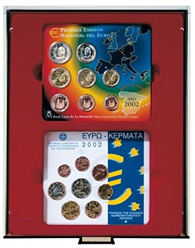 LINDNER Das Original d-Box FUMÉ à 2 alvéoles rectangulaires 140 x 123 mm pour 2 x 5 séries Euro courantes Allemagne en Fleur de Coin (jusqu'à 2014)