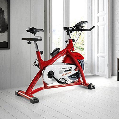 ECO-DE bici da spinning GIRO PRO, Spin Bike Cyclette per allenamento aerobico, sellino ergonomico, borraccia inclusa, Home Trainer, Bici da Fitness, Bicicletta da spinning, schermo LCD, .