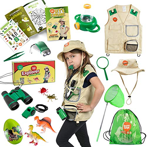 Born Toys Kids Explorer kit,Camping Toys and Bug catching kit with Binoculars, Flashlight, Compass, Magnifying Glass,Dinosaur Toys,Bug Toys and Butterfly Net Great for Boys & Girls Age 3-8