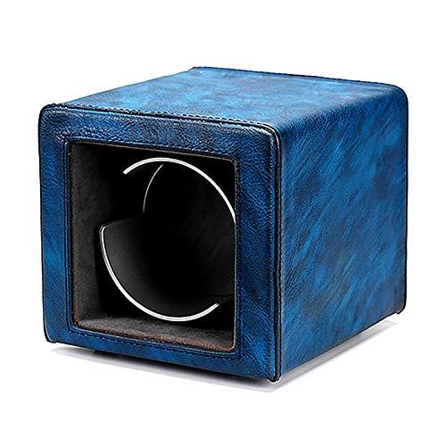 Soporte de reloj Mini Mini Mini Single Watch Caja de enrollamiento Retro Cuero Reloj Shaker Mecanical Watch Dispositivo de giro silencioso Dual-Power con estuche de almacenamiento de reloj LED Tranqui