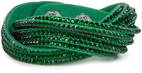 styleBREAKER weiches Strass Armband, eleganter Armschmuck mit Strassteinen, Wickelarmband, 6x1-Reihig, Damen 05040005, Farbe:Grün/Grün