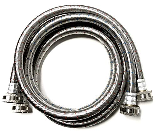 2-Pack Premium Stainless Steel Washing Machine Hoses - 5 FT No-Lead Burst Proof Red and Blue Lined Water Inlet Supply Lines - Universal Connection - 10 Year Warranty