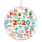 2020 Christmas Ornament Two-Side Printed Quarantine Ornament Ceramic Gift Xmas Tree Ornament Hanging Accessories 2020 Commemorative Funny Ornament-2020 Merry Christmas (Candy Color)