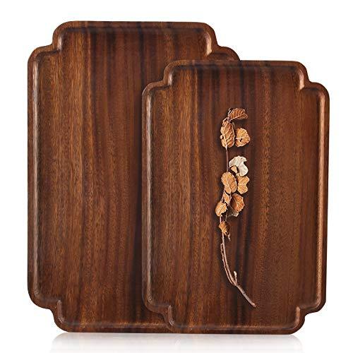 2 Pcs Handmade Wooden Serving Platter Acacia Wood Tray Decorative Plates Fruit Tray Salad Dish Rectangle Bread Platter Bar Tea Tray