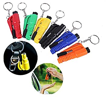 Aiydachy 6PCS Window Breaker Key Ring Cutter Portable Glass Breaker Car Emergency Escape Tool Six