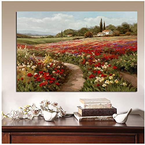 YANGMENGDAN Druck auf Leinwand Claude Monet Pappeln Mohnfelder Impressionistische Landschaft Ölgemälde auf Leinwand Poster und Drucke Wandbild für Wohnzimmer 50x70cmx1pcs Kein Rahmen