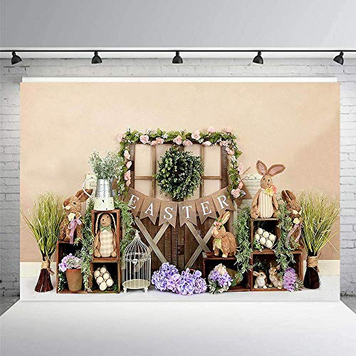 MEHOFOND Easter Spring Photography Backdrop Lavender Floral Rabbit Bunny Child Girl Newborn Portrait Girl Birthday Party Decorations Photo Studio Booth Background 8x6ft