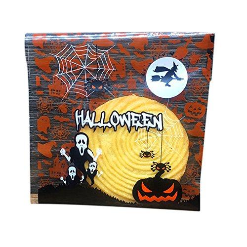 MoGist 100 Stück Selbstklebend OPP Tütchen Plastiktüten Nettes Geist Kürbis Halloween Muster Verpackung Tasche für Kekse Süßigkeiten Macarons Geschenk (Kürbis)