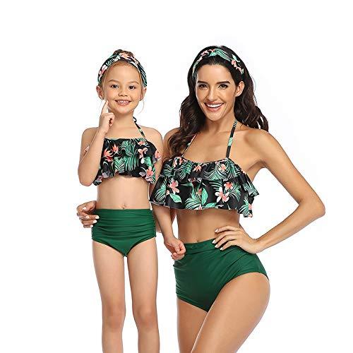 Bonfor Bikini Niña 2-12 años & Bikinis Mujer 2021 Brasileños Braga Alta Marca Volantes - Ropa de Baño Madre e Hija, Tajes de Baño de Dos Piezas (Verde, S)