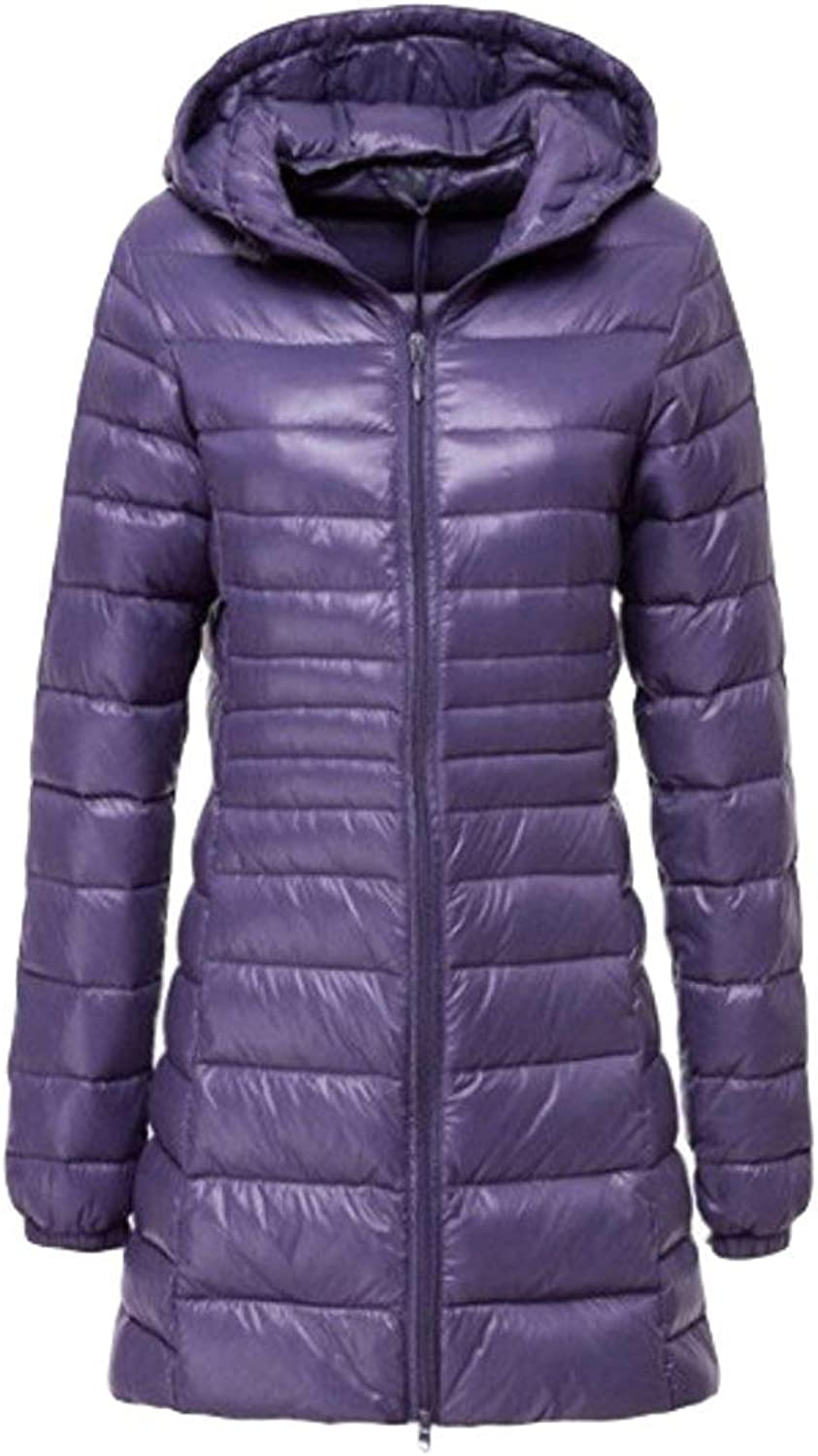Oudan Women's Down Jacket Quilted Jacket Ultra Lightweight Hooded Jacket Long Down Coat SXXL (color   Purple, Size   L)