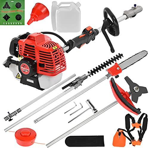 Grass Strimmer Pruner Petro 52cc 5 in 1 Multi Tools with Grass Trimmer, Brush Cutter, Hedge Trimmer, Chainsaw and Extension Pole