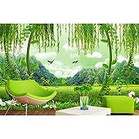 Bosakp 壁画カスタムグリーン壁紙フィールド風景壁紙家の装飾3Dテレビ背景壁 100X50Cm