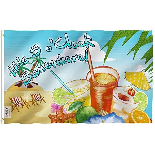 Anley Fly Breeze 3x5 Fuß Es ist 5 o'Clock Somewhere Flag - Lebendige Farbe und UV-beständig - Canvas Header und doppelt genäht - Sandige Beach Flags Polyester mit Messingösen 3 x 5 Ft