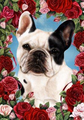 Best of Breed French Bulldog White/Black - Tamara Burnett Valentine Roses Garden Flag