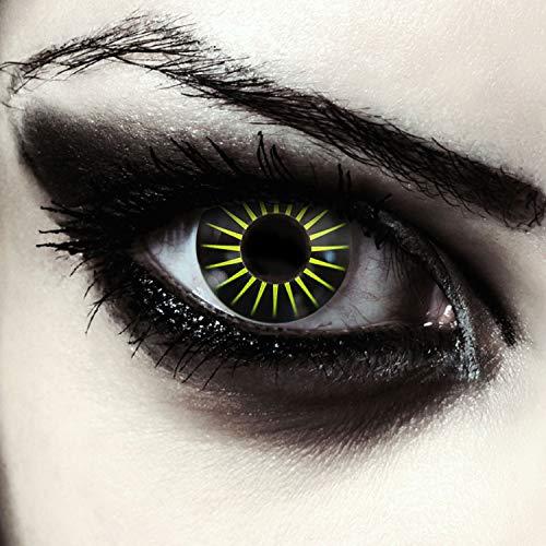Designlenses, 2 schwarz gelbe farbige Kontaktlinsen ohne Stärke, für Halloween Kostüm Makeup, gratis Kontaktlinsenbehälter Model: Black Star