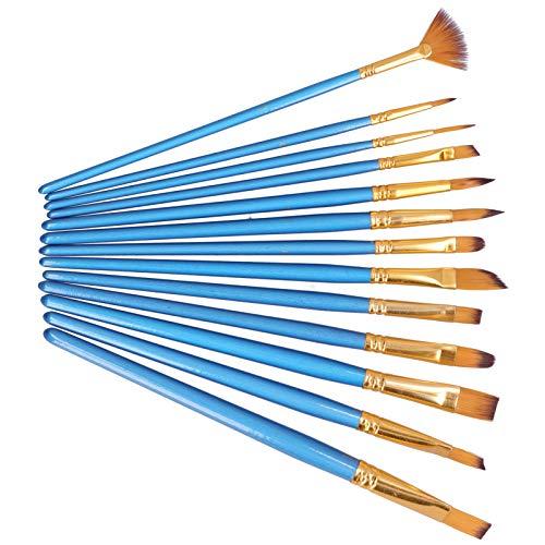 Seacanl Pincel, Azul Perla Art Brush Kit de Pincel de Pintura para acrílico para Pintura al óleo para Gouache para Acuarela