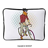 YOLIYANA Hipster Goat on Bicycle Fashion Model Horns Hooves Teenager Boy Laptop Sleeve Case Neoprene Carrying Bag for Any Tablet/Notebook 17 inch/17.3 inch