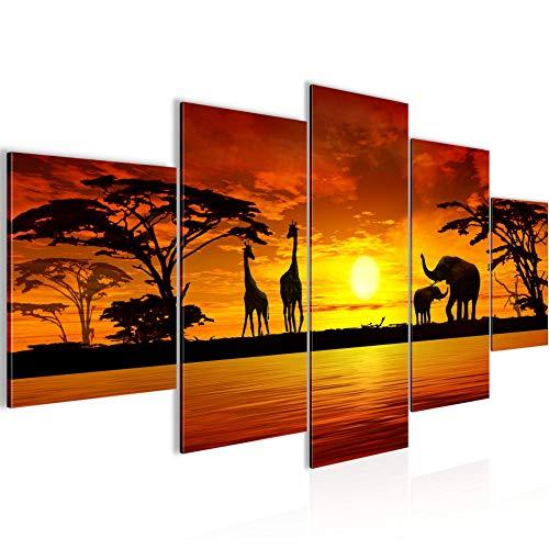decoración de la pared mesa de animales africanos - 150 x 75 cm XXL lienzo Salón Apartamento - listo para colgar - 000,253th