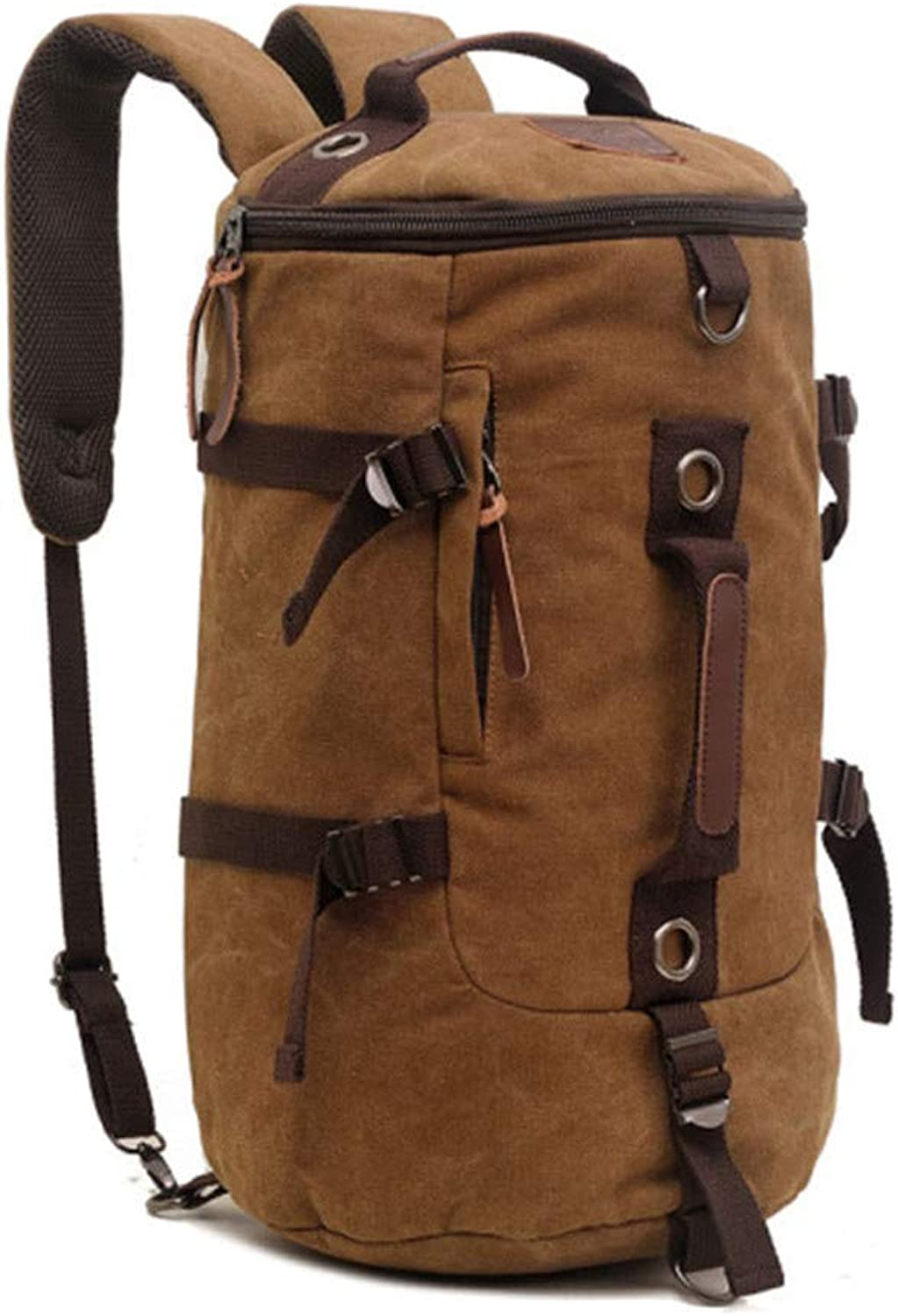 Canvas Backpack One Shoulder Diagonal Casual Large Capacity MultiFunction Male Bag Travel Mountaineering Bag Unisex Casual Rucksack Satchel Bookbag (color   Coffee color)