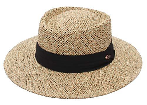 GEMVIE Sombrero Panama de Paja para Playa Hombre ala Ancha Sombrero Fedora Mujer Primavera/Verano Ajustable Caballero