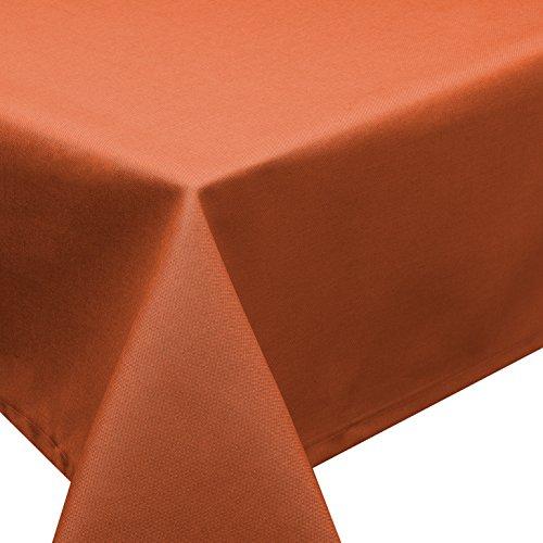 Schwar Textilien Nappe antitache d'aspect lin Effet lotus, lavable Plusieurs tailles, formes et couleurs, Polyester, terra, rund 220 cm
