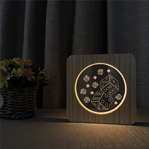 Dice Play Game Arylic Wooden Casino 3D LED Night Light Table Lamp Bedside Decoration Kids Gift