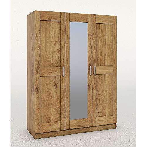 Elfo Armadio Toni a 3 posti con specchio, in legno di quercia selvatica