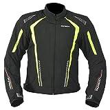 R-TECH Chaqueta de motociclista Marshal Chaqueta de moto textil para hombre (CE Aprobado) (Negro/Amarillo, L)
