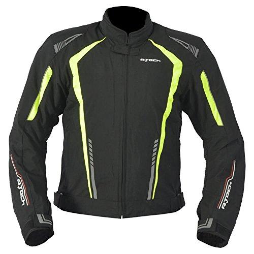R-TECH Chaqueta de motociclista Marshal Chaqueta de moto textil para hombre (CE Aprobado) (Negro/Amarillo, XS)